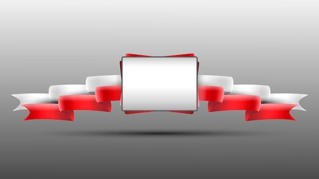 Ein banner mit den roten weißen bändern.