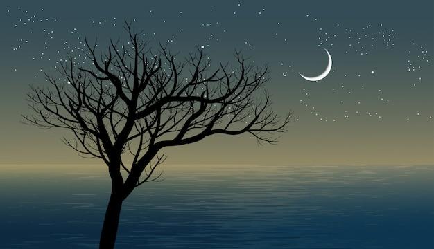 Ein baum in der nacht mit halbmond und sternenhimmel