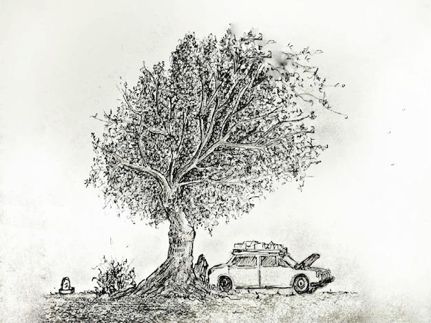 Ein baum mit autoaquarellmalerei auf papierhintergrund