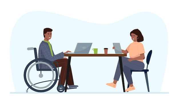 Ein behinderter mann im rollstuhl arbeitet in einem büro. beschäftigung für menschen mit besonderen bedürfnissen.