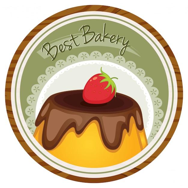 Ein bestes backetikett mit torte und erdbeere