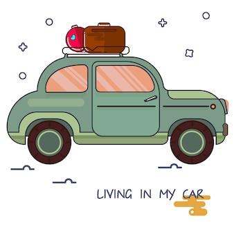 Ein bild eines autos in der karikaturart.