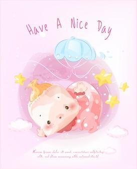 Ein bild eines neugeborenen für das zusammenstellen einer niedlichen babypartykarte, die im himmel mit einem ballon schwimmt.