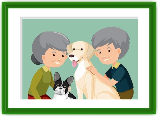 Ein bilderrahmen von altem ehepaar mit ihren hunden