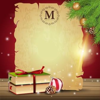 Ein blatt altes papier mit einem weihnachtsbuch