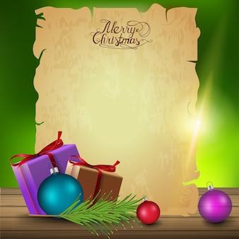 Ein blatt altes papier mit weihnachtsgeschenk