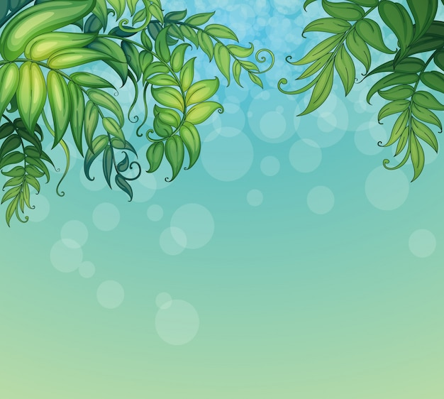 Ein blauer hintergrund mit grünen belaubten anlagen