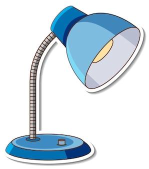Ein blauer tischlampenaufkleber auf weißem hintergrund