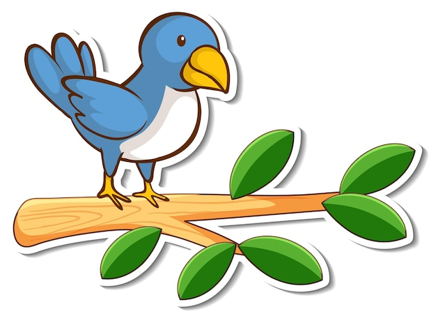 Ein blauer vogel, der auf einem zweigaufkleber steht