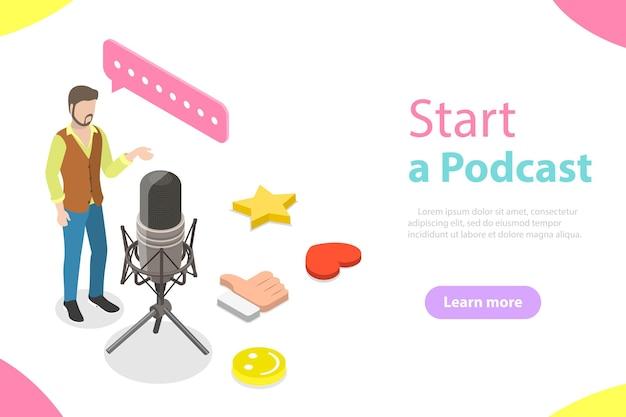 Ein blogger steht neben dem großen mikrofon und nimmt einen podcast auf.