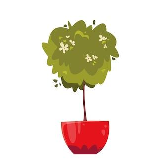 Ein blumenbusch auf einem dünnen stamm in einem topf hauspflanzen gartenarbeit zu hause vektor-illustration
