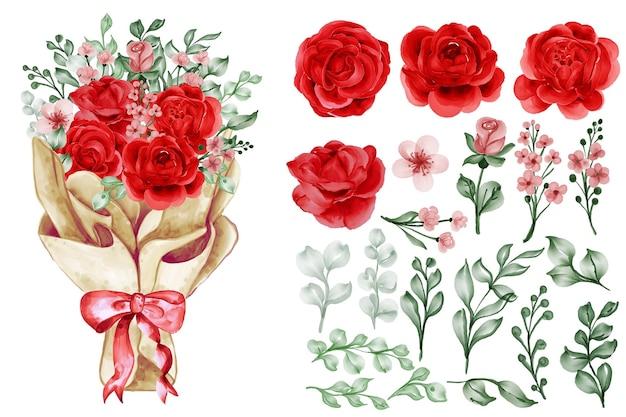 Ein blumenstrauß in papierverpackung mit isolierten cliparts der freiheit rose rot und blätter