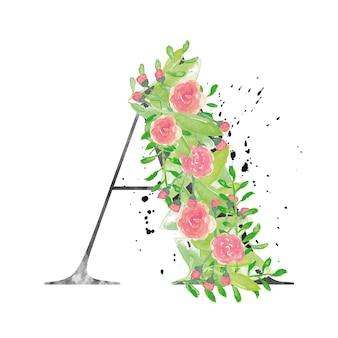 Ein brief mit aquarellblumen und blättern
