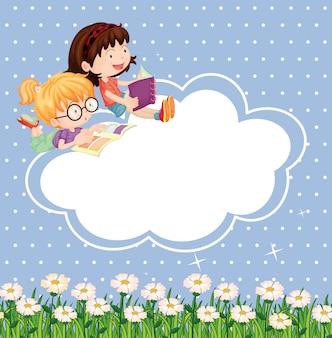 Ein briefpapier mit lesenden kindern