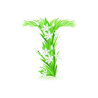 Ein buchstabe des frühlingsblumenalphabets - t. illustration auf weißem hintergrund