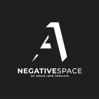 Ein buchstabe negativer raum geometrisches alphabet markieren logo-vektor-symbol-illustration