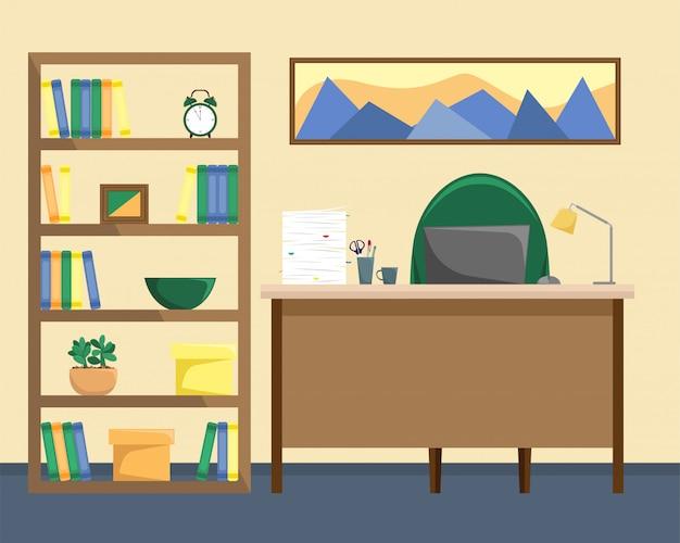 Ein büro mit einem bücherregal.
