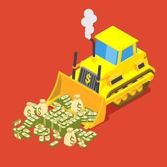 Ein bulldozer döst geld in haufen