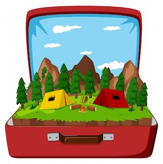 Ein campingplatz in der vintage-tasche