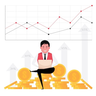 Ein cartoon, der geschäftswachstum zeigt, kennzeichnet einen mann, der am computer mit einem hintergrund des geldes und des statistikgraphen arbeitet