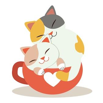 Ein charakter der netten katze sitzend in der roten schale