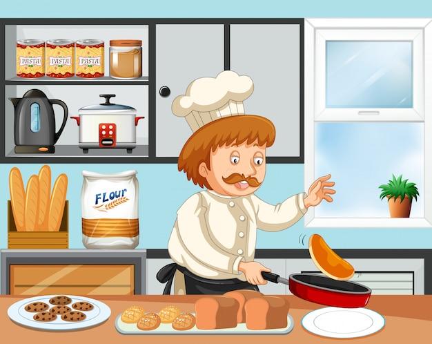 Ein chef, der in der küche kocht