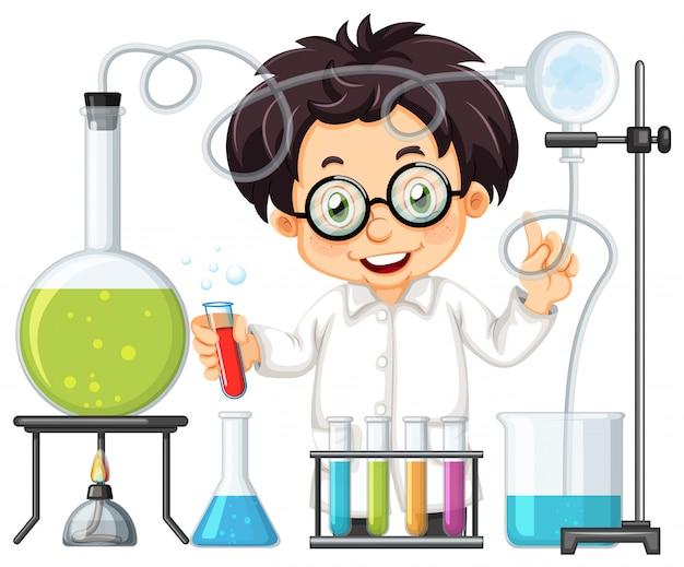 Ein chemiker-experiment im labor