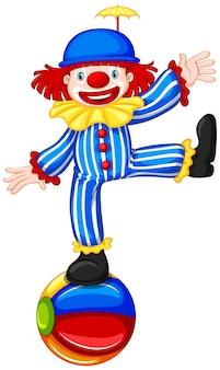 Ein clown auf bunten ball