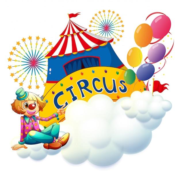 Ein clown, der mit einem zirkusschild sitzt