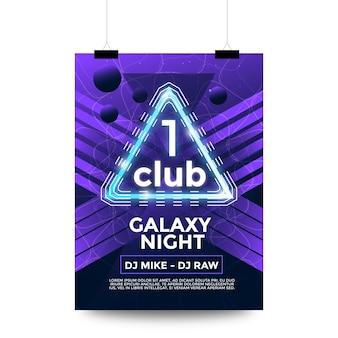 Ein club galaxie nacht party flyer