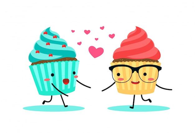 Ein cyan-blauer und roter cupcake. vektor-illustration