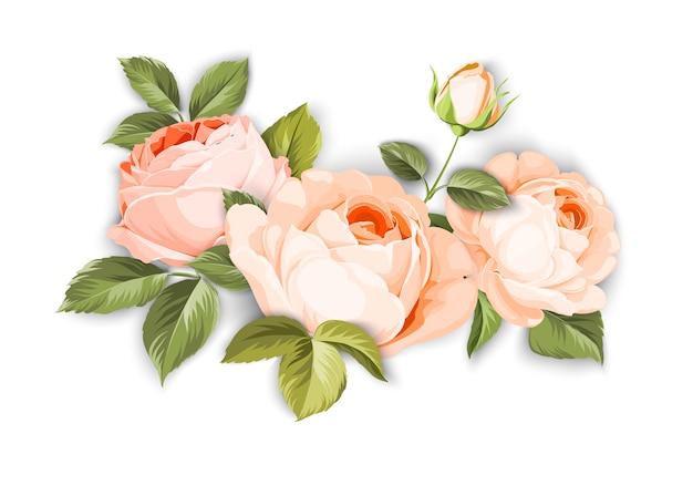 Ein dekorativer blumenstrauß des frühlinges von rosenblumen.