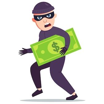 Ein dieb, der geld gestohlen hat, hält einen großen dollarschein in den händen flache vektorgrafik
