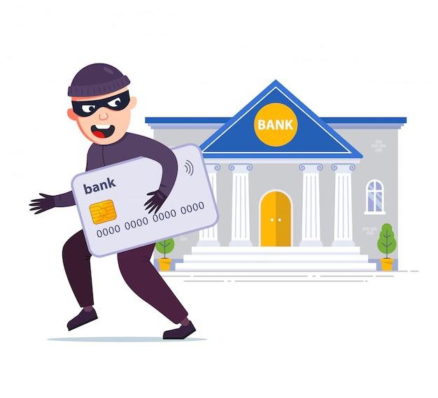 Ein dieb hat einer bank eine kreditkarte gestohlen. geld und passwörter stehlen. flache zeichenillustration lokalisiert auf weißem hintergrund.