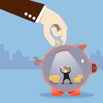Ein dieb stehlen geld in sparschwein