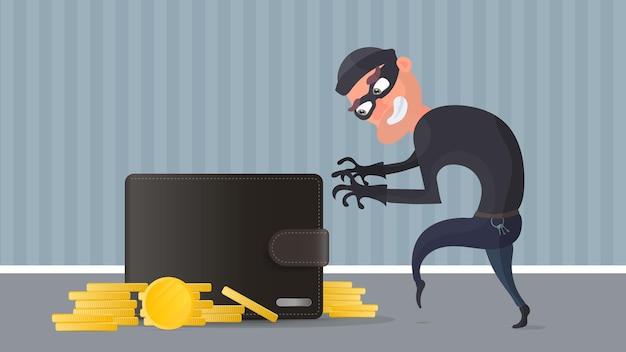 Ein dieb stiehlt eine kreditkarte im portemonnaie. ein krimineller stiehlt die brieftasche eines mannes. das konzept von betrug, betrug und betrug mit geld. vektor.