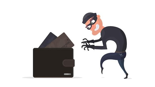 Ein dieb stiehlt eine kreditkarten-geldbörse. ein krimineller stiehlt die brieftasche eines mannes.