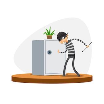 Ein dieb versucht den safe zu öffnen. isolierte vektor-illustration