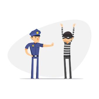 Ein dieb wird von der polizei aufgehalten. isolierte vektor-illustration