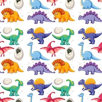 Ein dinosaurier auf nahtlosem muster