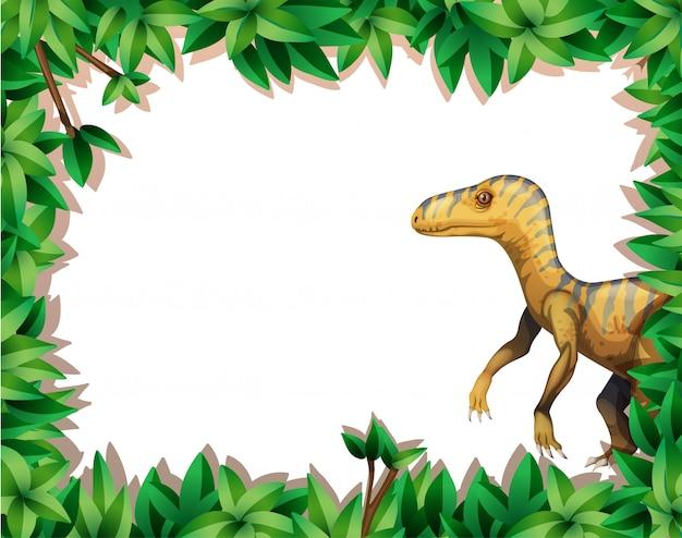 Ein dinosaurier auf naturrahmen