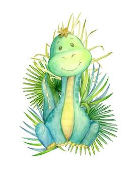 Ein dinosaurier von grüner farbe, der auf einem hintergrund von tropischen blättern sitzt. aquarell, tier, karikaturart, auf einem isolierten hintergrund, für kinderdekor.