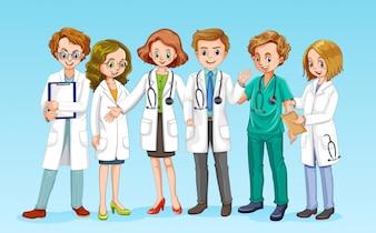 Ein Doktor Team auf blauem Hintergrund