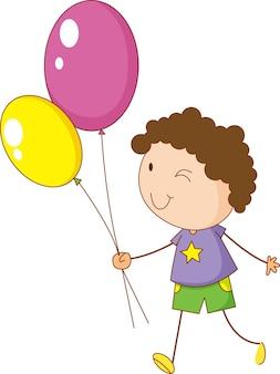 Ein doodle-kind, das ballons-cartoon-figur isoliert hält