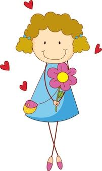 Ein doodle-kind, das blumen-cartoon-figur isoliert hält