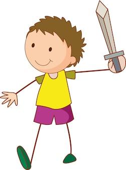 Ein doodle-kind, das eine isolierte schwert-cartoon-figur hält