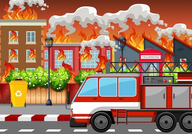 Ein dorf in brand