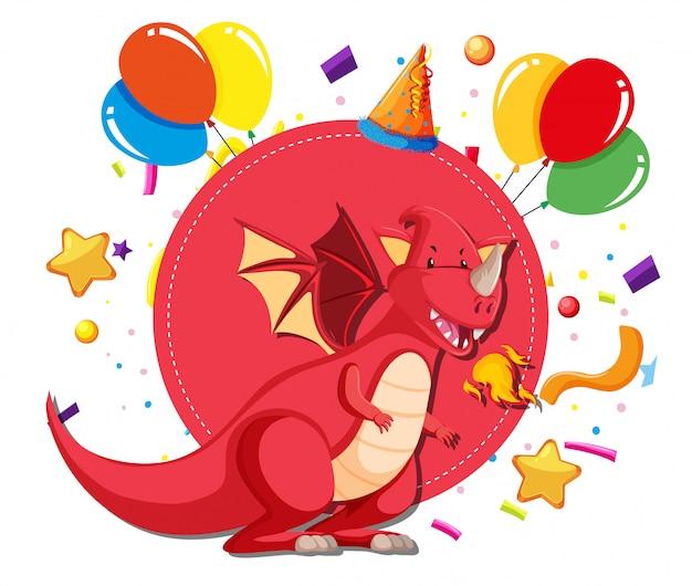 Ein drache auf partyvorlage