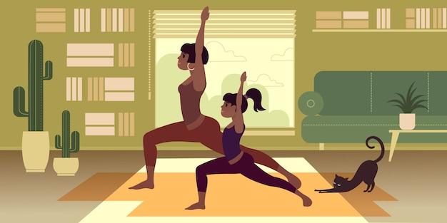 Ein dunkelhäutiges mädchen mit einer jüngeren schwester oder tochter praktiziert zu hause yoga.