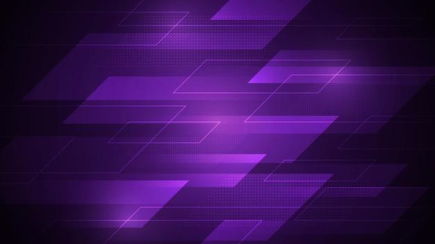 Ein dunkelvioletter abstrakter hintergrund, der geschwindigkeit darstellt und mit punkten und linien verziert ist.